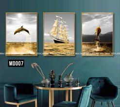 Bộ 3 Tranh Biển Vàng Và Cá Heo