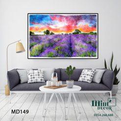 tranh đồi hoa lavender thơ mộng