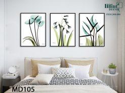 bộ 3 tranh hoa xanh dịu dàng