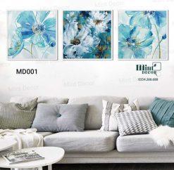 bộ 3 tranh hoa màu nước