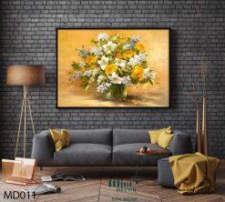 tranh bình hoa vàng rực rỡ