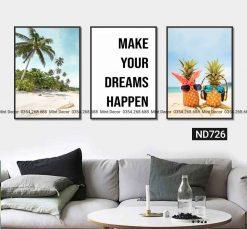 bộ 3 tranh make your dreams happens