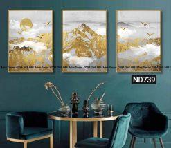 bộ 3 tranh núi vàng