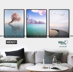 bộ 3 tranh phong cảnh biển và hoa