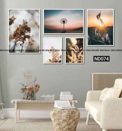 bộ 5 tranh hoa lá mùa thu
