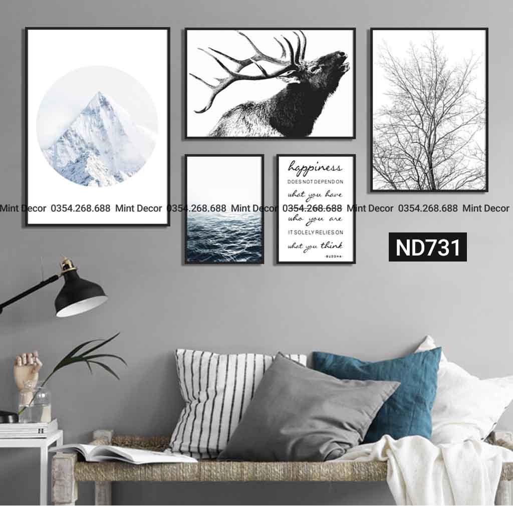 bộ 5 tranh hươu bắc âu mùa đông