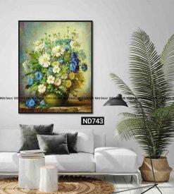 tranh bình hoa xanh