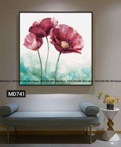 tranh hoa poppy hồng