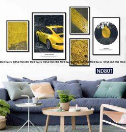 bộ 5 tranh xe hơi màu vàng