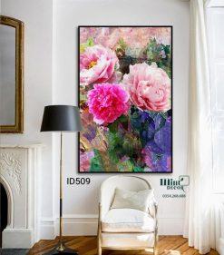 Tranh treo tường hoa hồng sơn dầu
