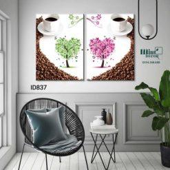 bộ 2 tranh trang trí tôi yêu cà phê
