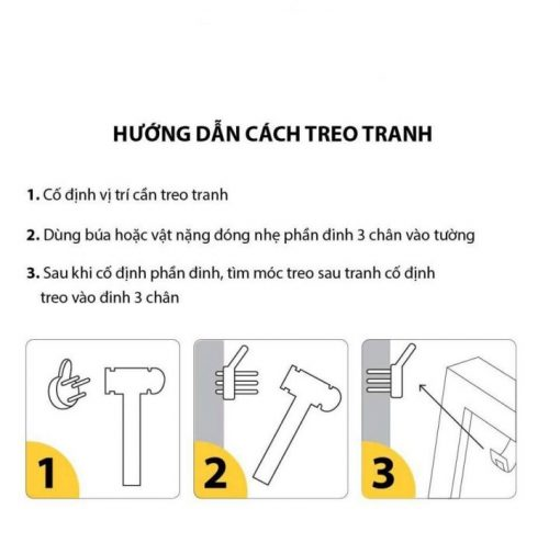 hướng dẫn treo tranh bằng đinh 3 chân