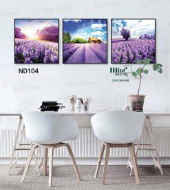 bộ 3 tranh cánh đồng lavender mộng mơ