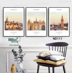 bộ 3 tranh những toà tháp nổi tiếng thế giới