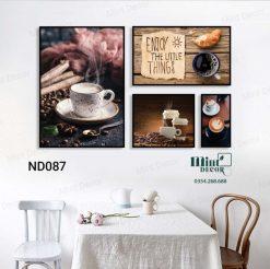 bộ 4 tranh ly cafe buổi sáng