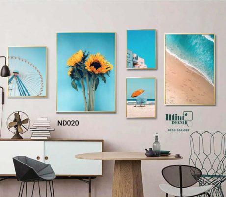 bộ 5 tranh biển và hoa