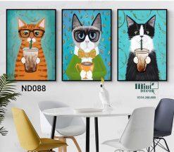 bọ 3 tranh mèo uống trà sữa