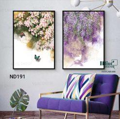 bộ 2 tranh hoa và bướm
