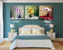 bộ 3 tranh tĩnh vật bình hoa phong lan