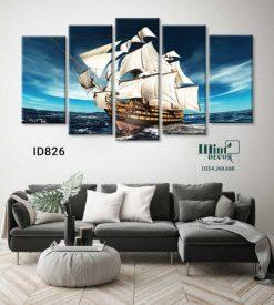 bộ 5 tranh thuyền buồm trên biển