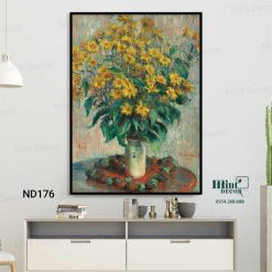 tranh bình hoa cúc vàng