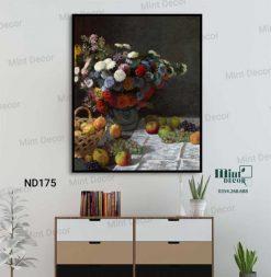 tranh bình hoa và giỏ trái cây