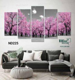 Bộ 5 tranh rừng cây màu hồng