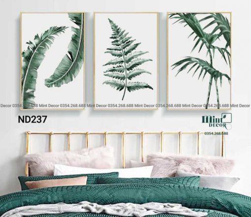 bộ 3 tranh watercolor tropical plants