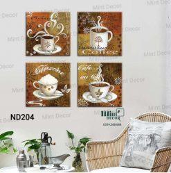 bộ 4 tranh hương vị cà phê