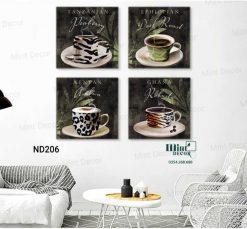 bộ 4 tranh những ly cà phê hấp dẫn