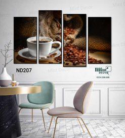 bộ 4 tranh ly cà phê nguyên chất