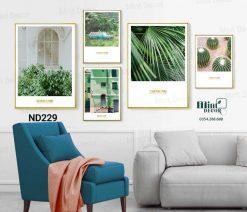 bộ 5 tranh màu xanh lá thiên nhiên