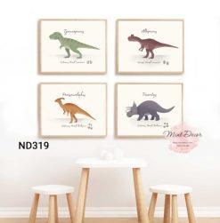 Bộ 4 tranh các loài khủng long