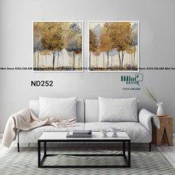 bộ 2 tranh rừng cây lá