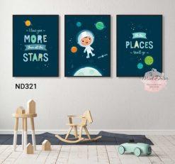 bộ 3 tranh bé khám phá vũ trụ