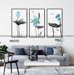 bộ 3 tranh hoa sen xanh