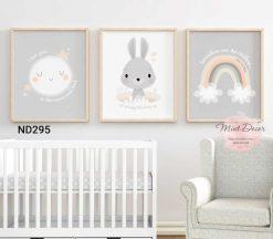 bộ 3 tranh thỏ con và cầu vồng