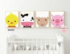bộ 4 tranh vịt bò cừu và heo