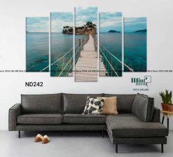 bộ 5 tranh cây cầu ra biển