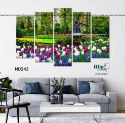 bộ 5 tranh hoa tulip và cối xay gió