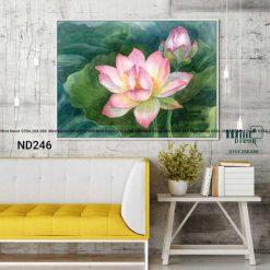 tranh sen hồng trong đầm