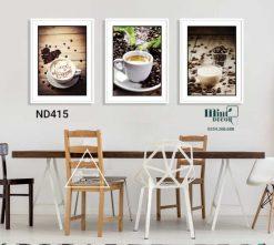 bộ 3 tranh cà phê thơm ngon