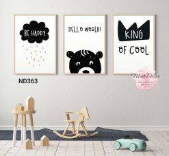 bộ 3 tranh gấu con hello world
