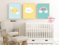bộ 3 tranh mặt trời, mây và cầu vồng đáng yêu