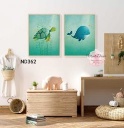 bộ 3 tranh rùa biển và cá voi