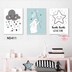 bộ 3 tranh thỏ với sao mây