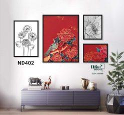 bộ 4 tranh hoa mẫu đơn đỏ