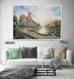 tranh ngôi nhà cối xay gió