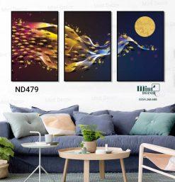 bộ 3 tranh đàn cá vàng vờn trăng