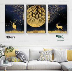 bộ 3 tranh đôi hươu bên trăng vàng